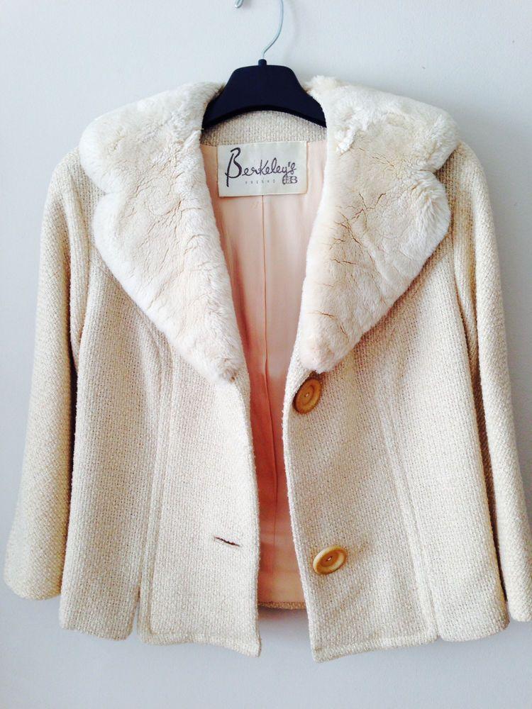 Vintage ivory tweed cropped jacket sheered beaver shawl collar S M anthropologie #Berkeleys #50scropped