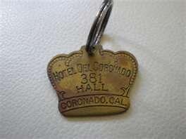 Vintage Hotel Del Coronado Key Chain Ring keyring Fob Completed
