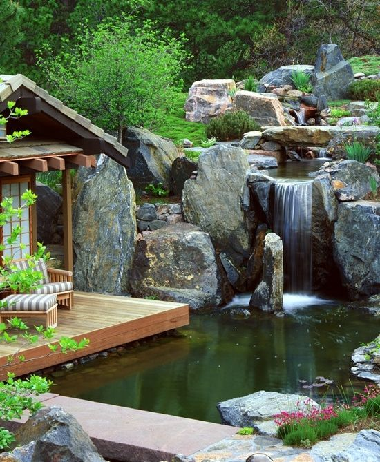 Wasserfall Holz Terrasse Gartenhaus Stauden Naturlook Garten Anlegen |  Bachlauf | Pinterest | Garden Water Features, Water Features And Gardens