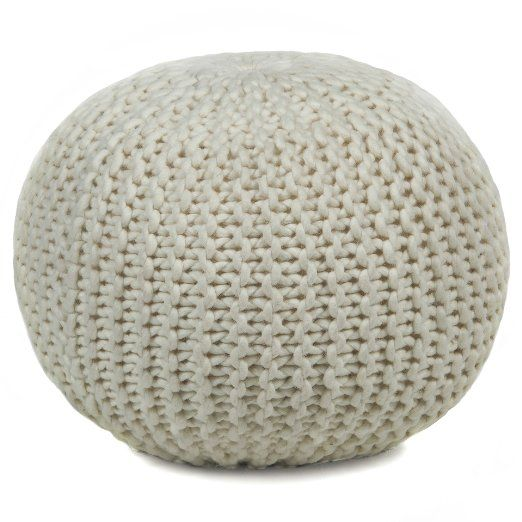 "Chandra Rugs Wool Pouf, 18"", Ivory"