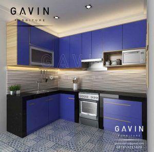 Gambar Kitchen Set Minimalis Warna Biru Kombinasi Hpl Di Kreo Q2857