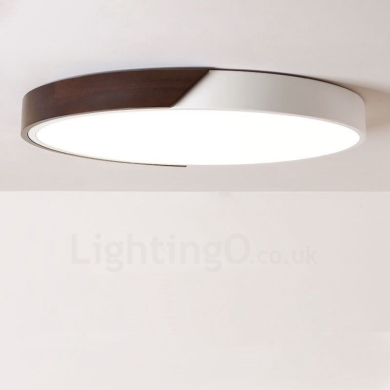 Retro Walnut Colour Wood Ultra Thin Round Dimmable Led Flush Mount