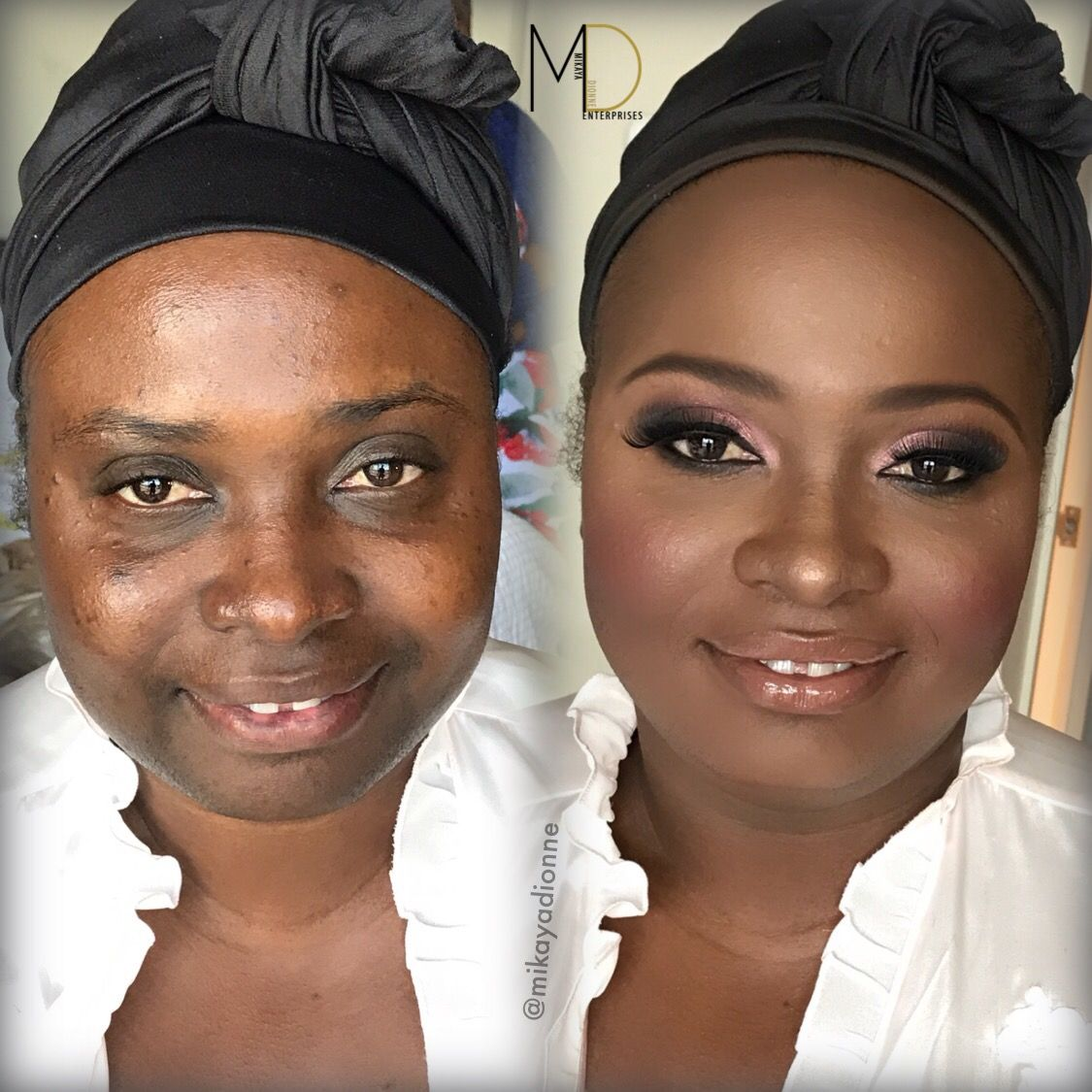Makeup for black women Black opal cream stick foundation bridal makeup Before and after www.MikayaDionne.com