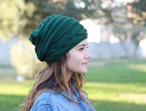 High quality slouchy style knit hat to wear in winter! Womens Emerald Green  slouch winter hat in cab cff96f34c8c