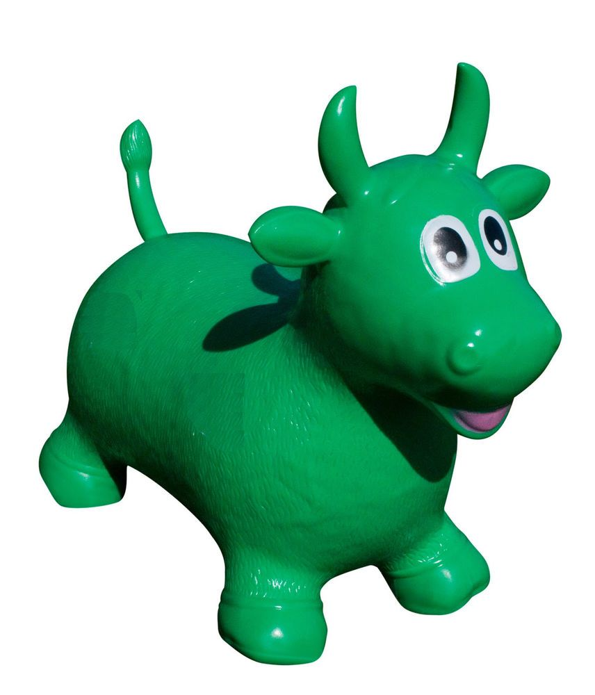 jumping hoppers animal kids green bull inflatable jumping toy