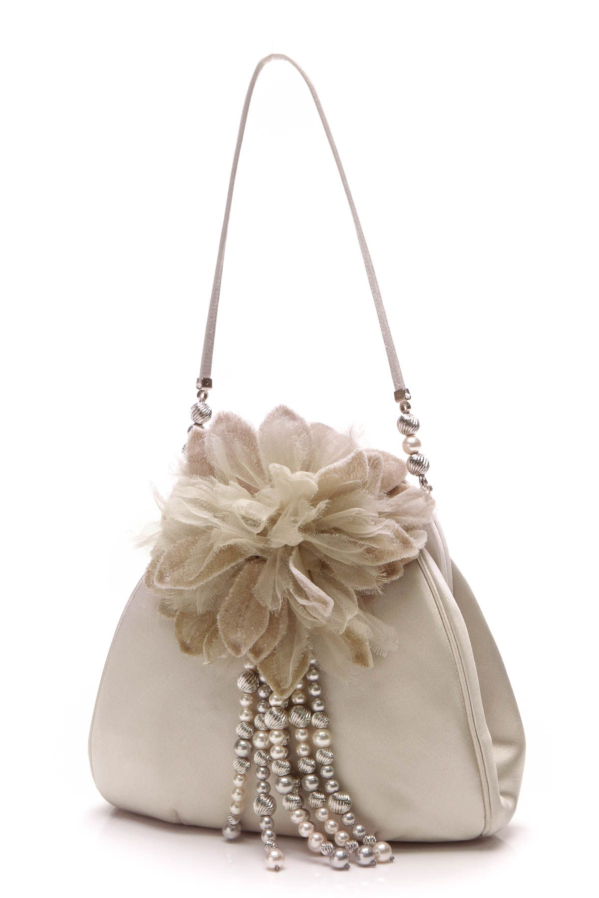 Judith Leiber Flower Beaded Evening Bag - Silver  0d09925741942