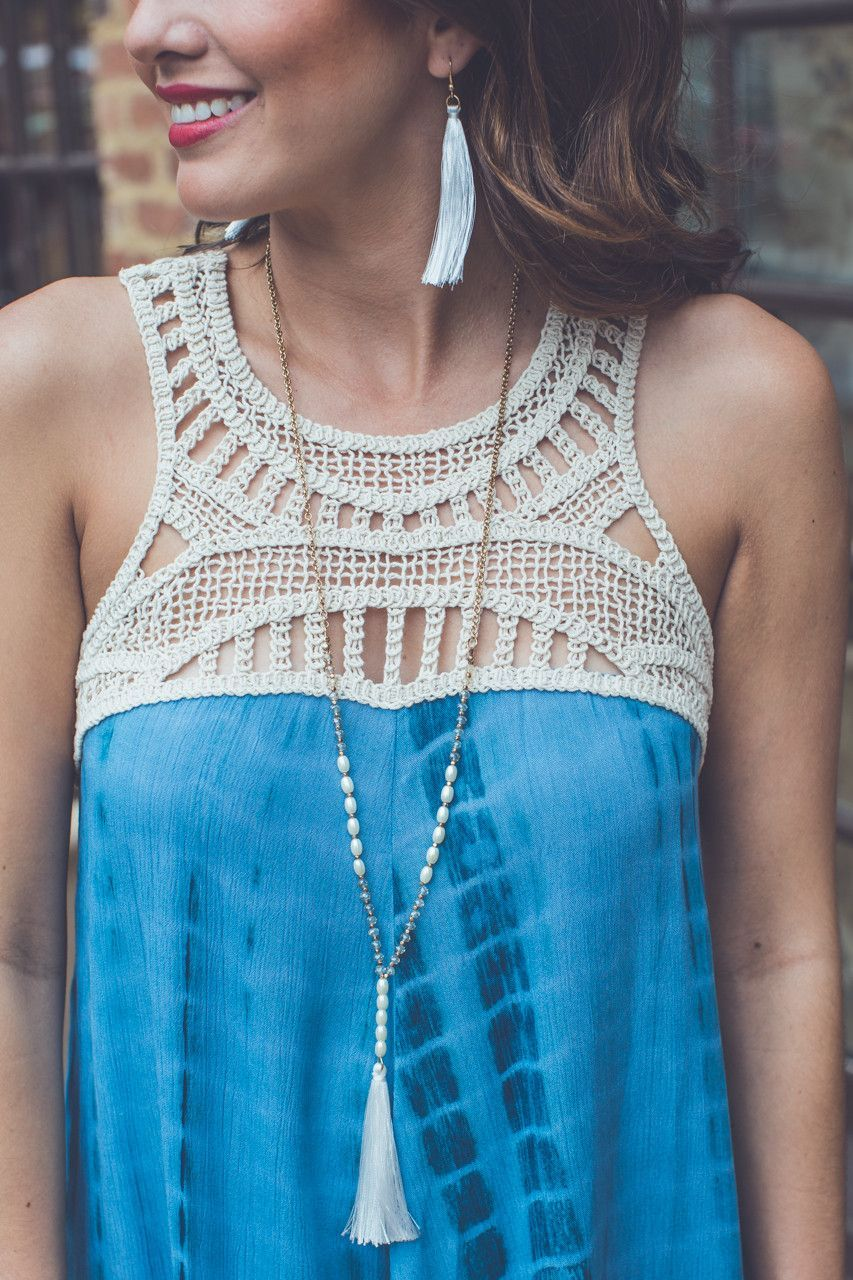 Tassel Necklace and Earrings Set in White