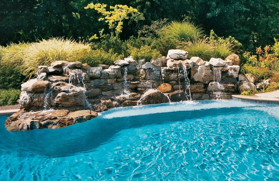 Swimming Pool Rock Waterfall Pictures Blue Haven Backyard Pool