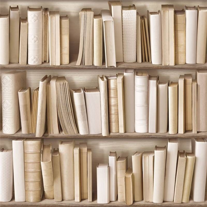White Ivory Cream J43027 Photo Bookcase Bookshelf Library Muriva Wallpaper