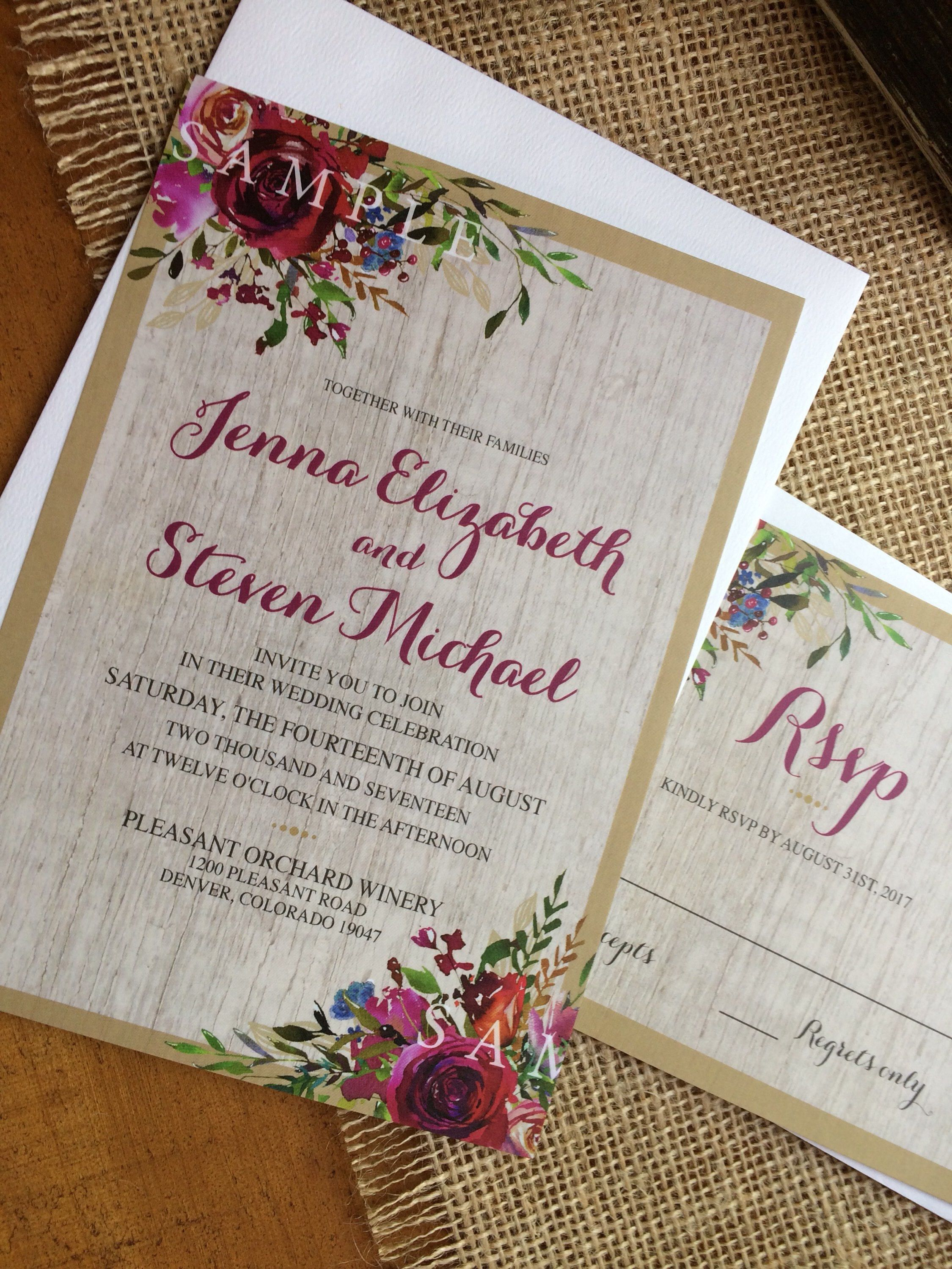 tie the knot wedding invitations etsy%0A Wedding Invitations Invites RSVP Cards Postcards Vintage Rustic Country  Floral Peony Rose Blush Maroon Burgundy Navy Peach Pink Gold