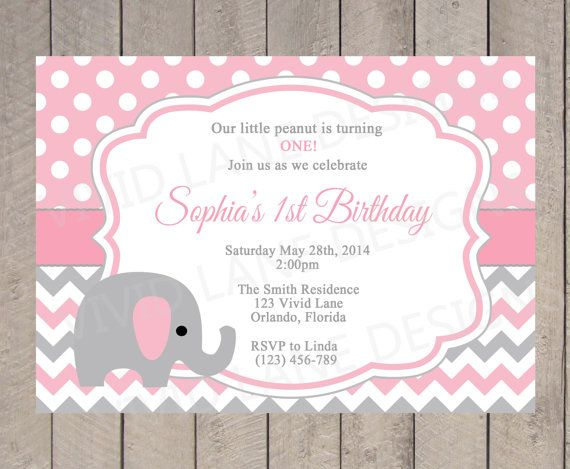 Elephant Birthday Invitation Girl Pink And Grey Chevron Polka Dots 1st 2nd 3rd First