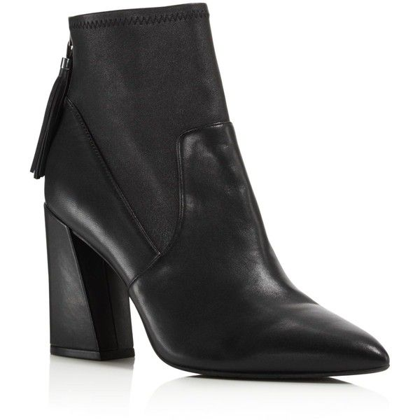 Kenneth Cole Gracelyn Leather High Heel Booties (€165) ❤ liked on Polyvore featuring shoes, boots, ankle booties, black boots, black ankle booties, leather high heel boots, high heel booties and black leather ankle booties