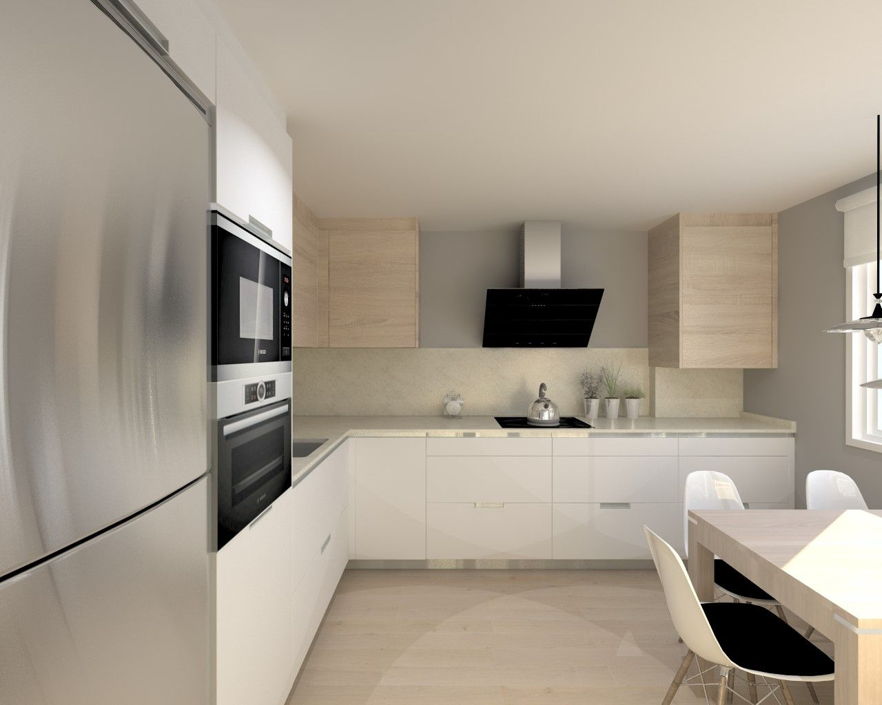 Cocina santos modelo minos l blanco seda encimera granito for Modelos de cocinas en l