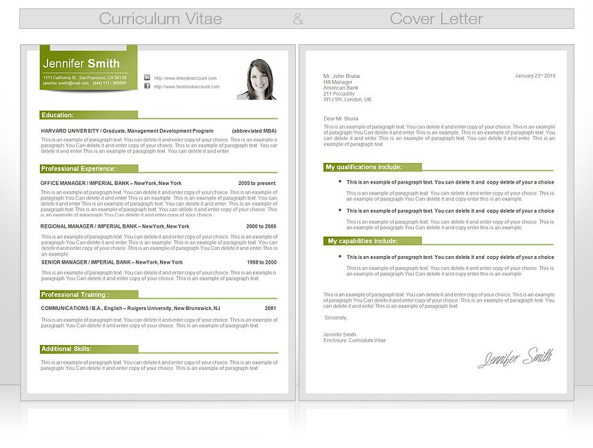 "Template Curriculum Vitae Make Sure Your Cv & Cover Letter Have The Same ""look & Feel"
