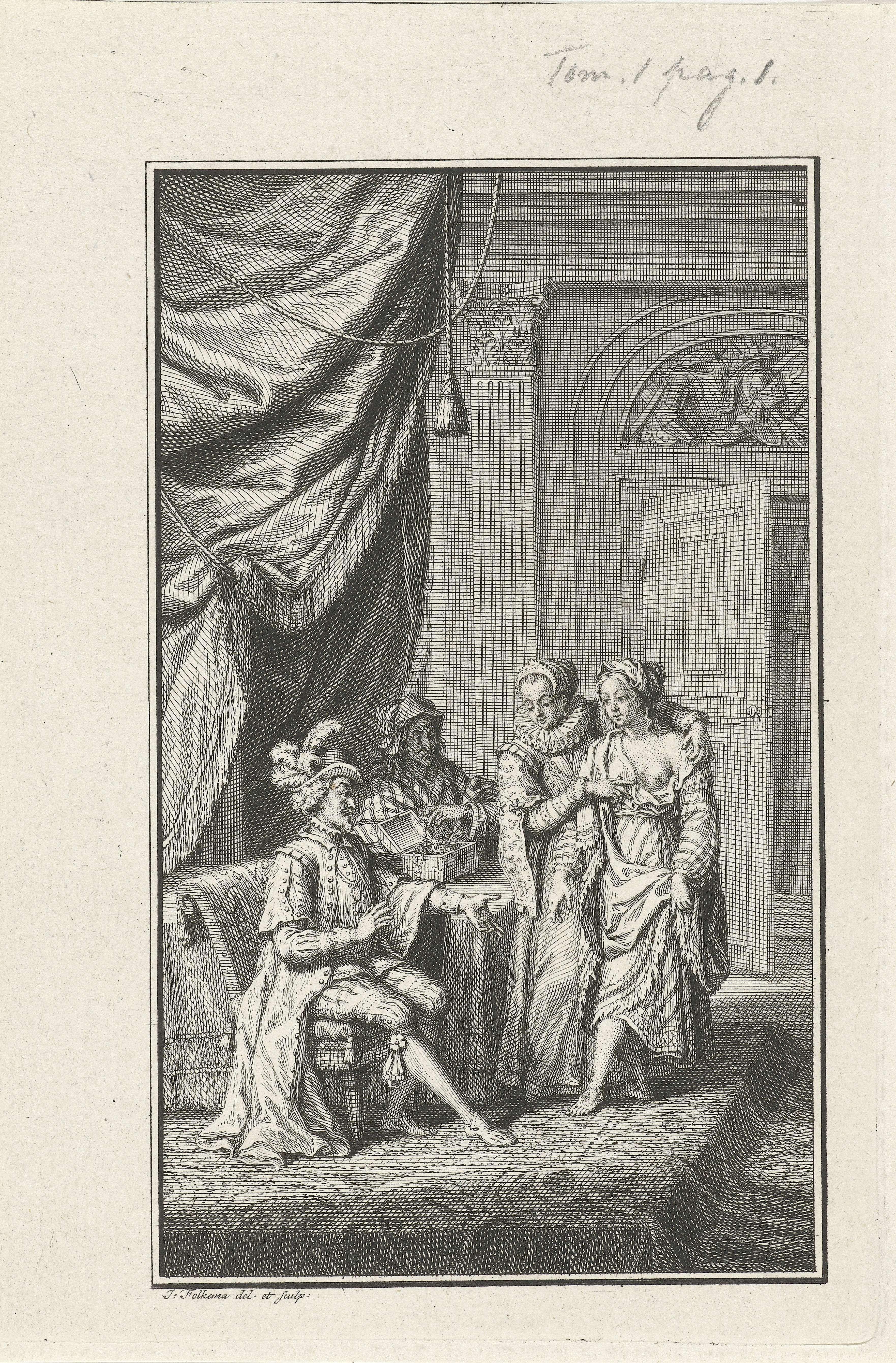 Jacob Folkema   Spaanse Heidin Pretiosa, Jacob Folkema, 1702 - 1767   De Spaanse heidin Pretiosa staat voor een rijk geklede man. Een vrouw ontbloot een borst van Pretiosa en toont deze. Achter dit drietal verzamelt een oudere vrouw sierraden in een kistje dat voor haar op tafel staat.