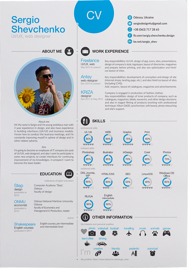 My Cv Resume Self Promotion  Cv  Resume  Printable  Free On Behance .