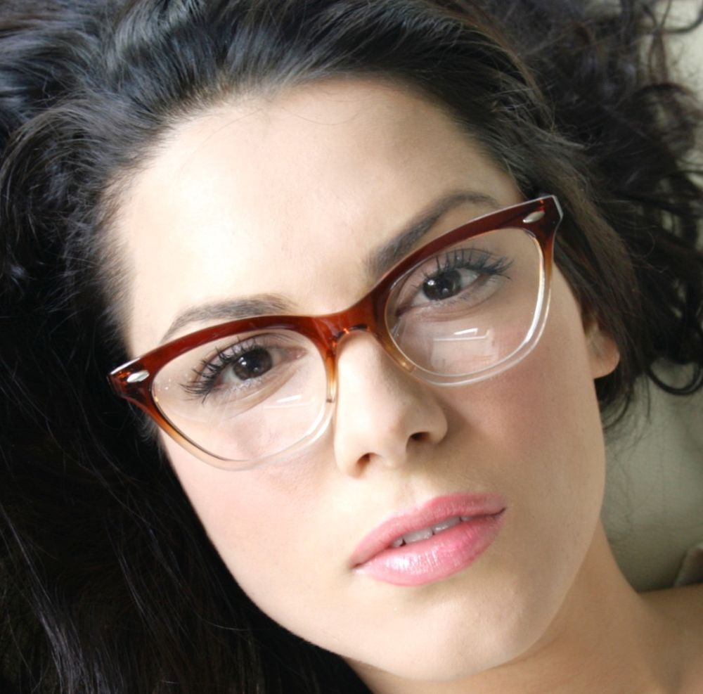 50s vintage retro style brown gradient frame women cat eye eyeglasses glasses
