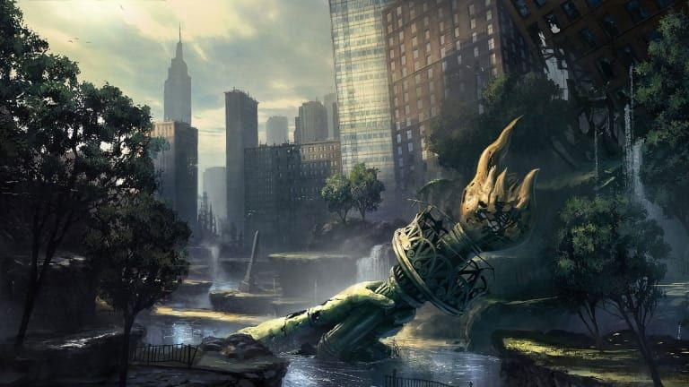 Thought Provoking Political Dystopian Books Background Images Statue Of Liberty City Wallpaper