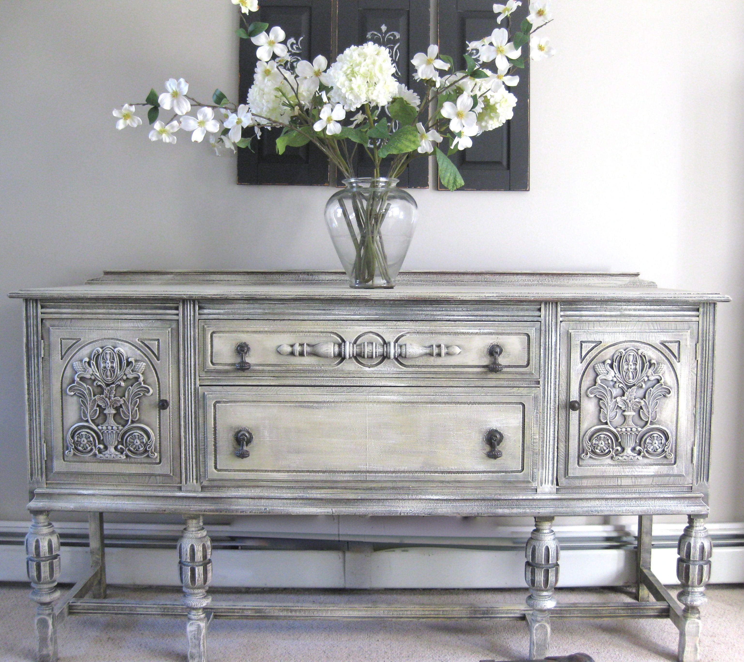 Antique Sideboard Buffet Painted With Annie Sloan Chalk Paint Bemalte Mobel Dekor Antike Anrichte