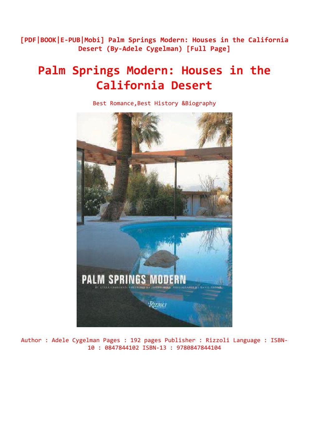 Epub Download Palm Springs Modern Houses in the