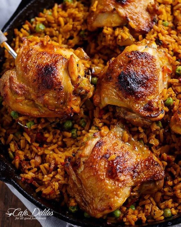 Pin by samantha wilson on recipes to try pinterest spanish mariam on instagram one pan crispy spanish chicken and rice arroz con pollo by cafedelites check out her blog for more recipes link on her bio forumfinder Choice Image