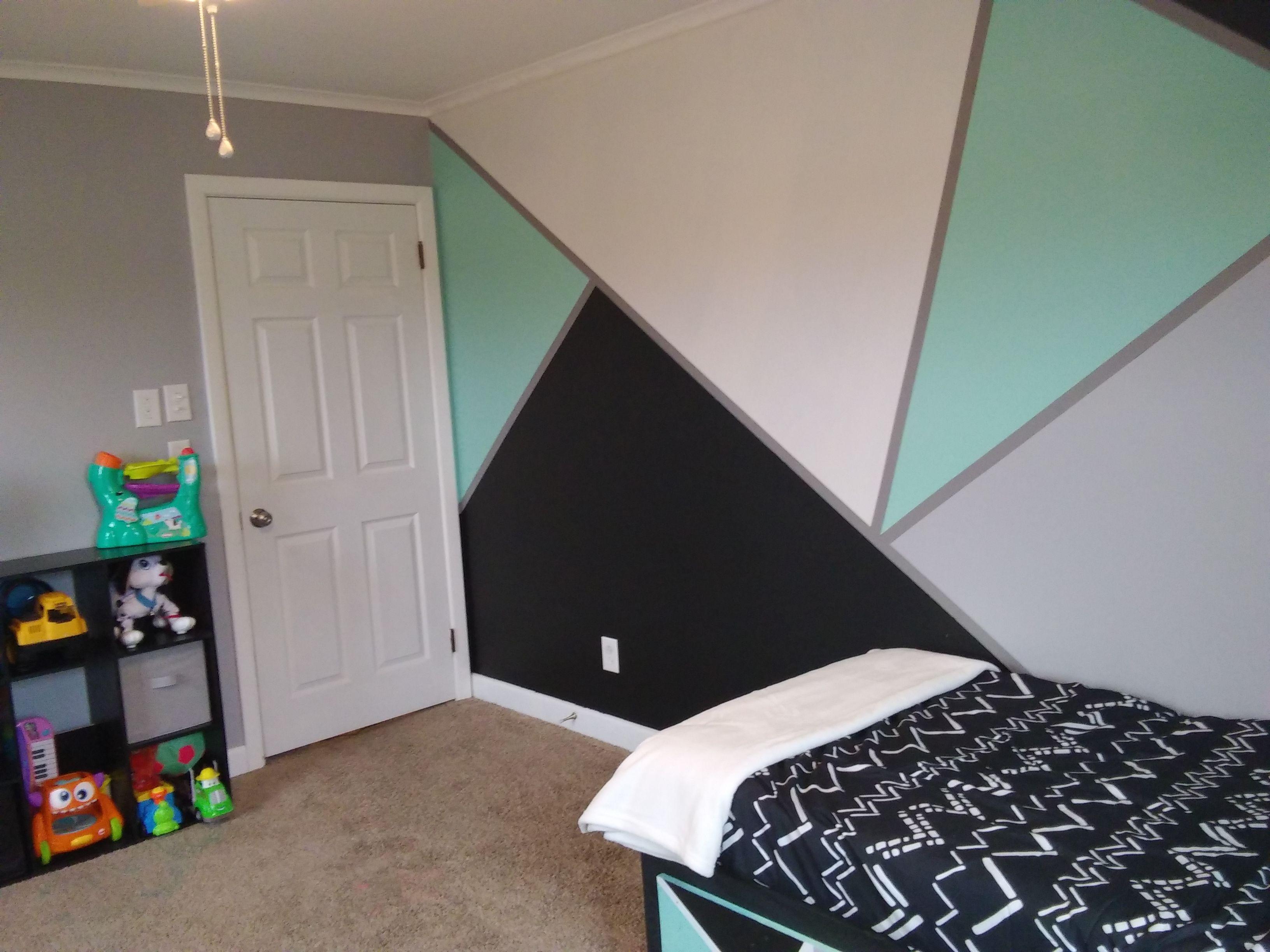 Mint Black Grey White Geometric Walls Awesome Boys Room We Used