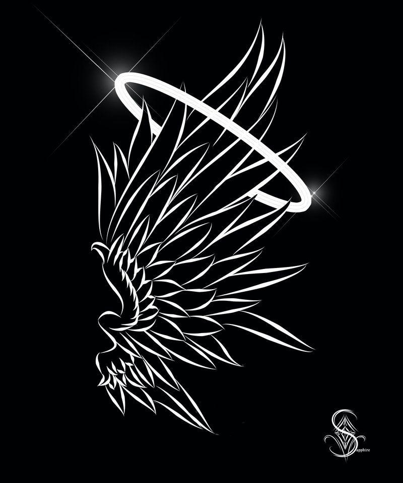 Wings black tattoo designs angel