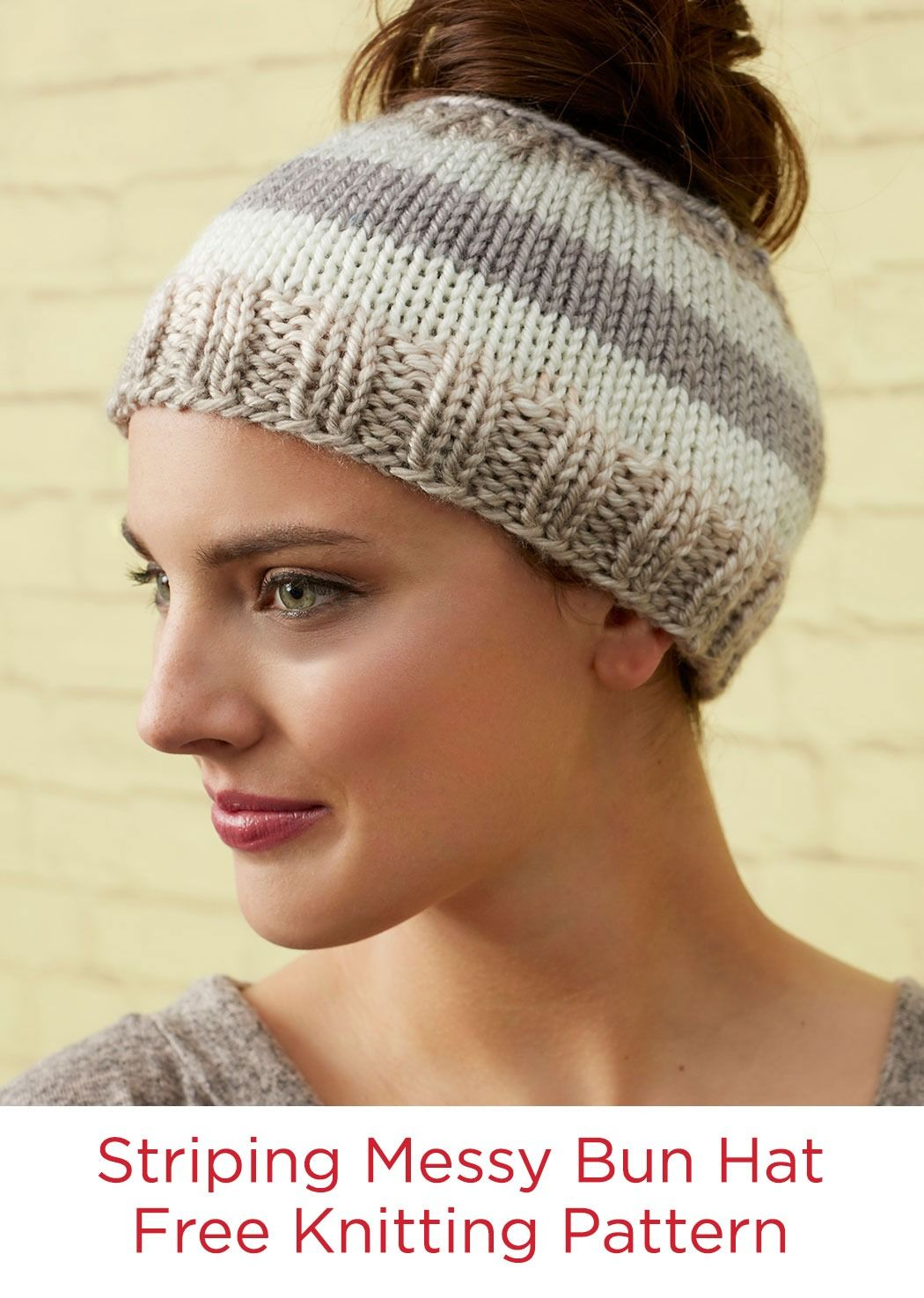Striping messy bun hat free knitting pattern in red heart soft free knitting pattern for striping messy bun hat laura bains easy ponytail hat is suitable for beginners the striping is made with self striping yarn bankloansurffo Images