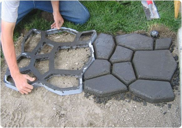 DIY concrete cobblestone path.