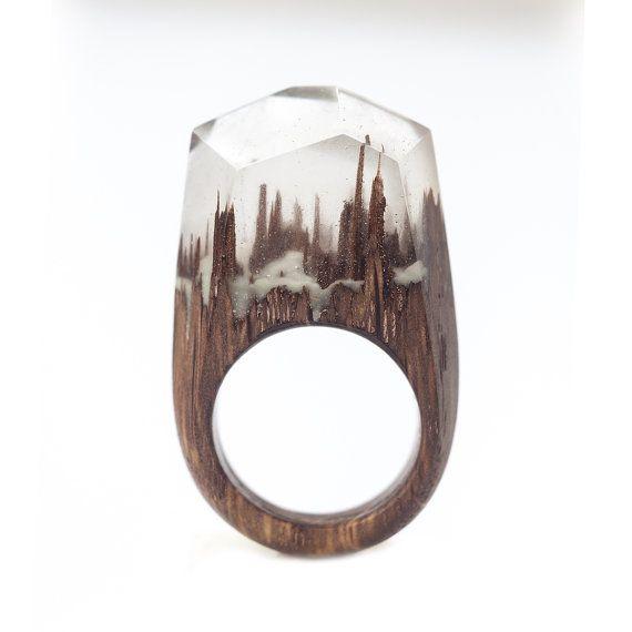Anillo de madera resina de epoxy brillante en por for Resina epoxi madera