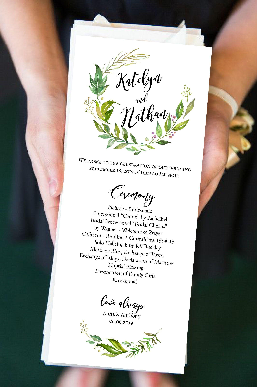 Greenery Wreath Catholic Ceremony Program, Rustic Greenery