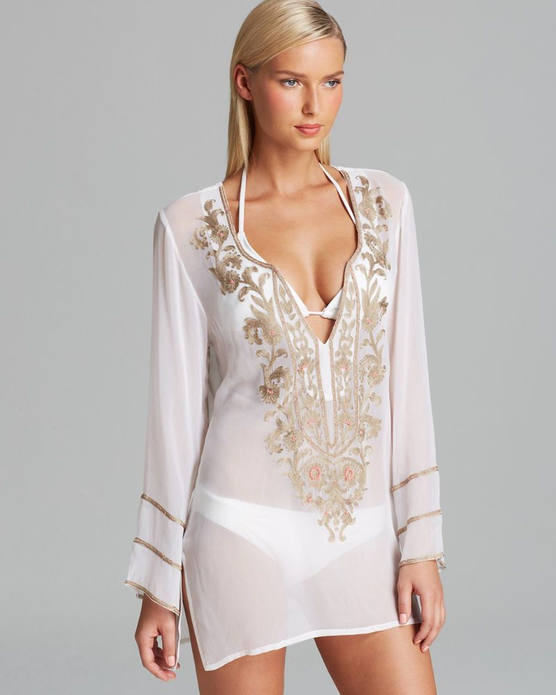 b76288e2027 Ella Moss White Belle Floral Beaded Swimsuit Cover Up Tunic S Small NWT New   148  EllaMoss  CoverUp