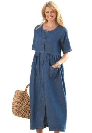 59388095646 Woman Within Plus Size Dress With Empire Waist In Denim (Medium  Stonewash