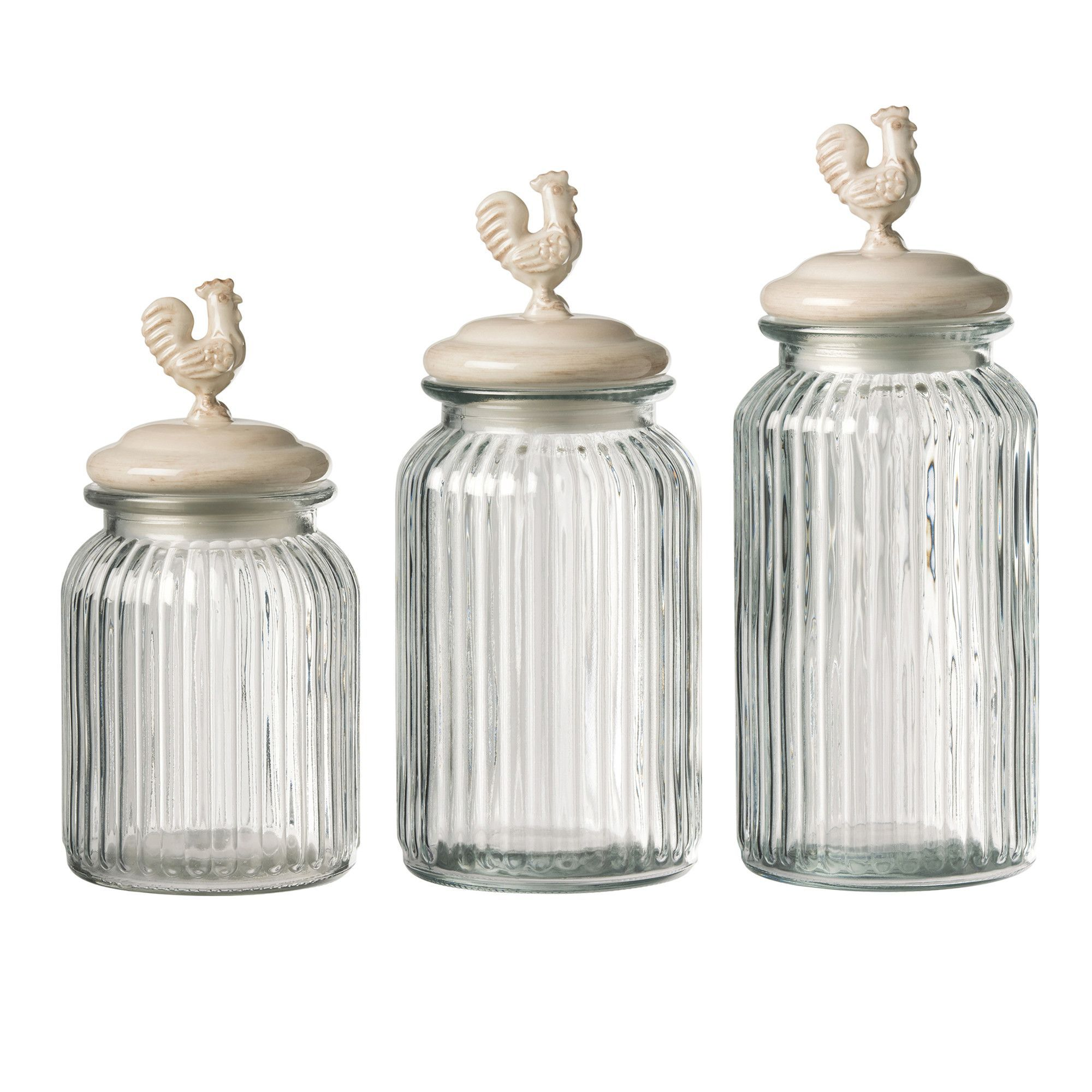 Homestead 3 Piece Round Glass Canister Set | Glass Jar & Container ...