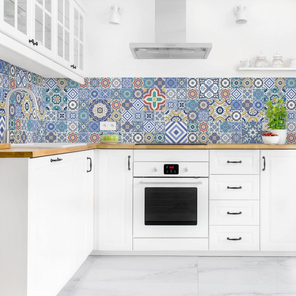 Self Adhesive Splashback Portuguese Tiles Kitchen Decor Backsplash Design Decoration In 2020 Italian Style Kitchens Kitchen Design Small Kitchen Tiles