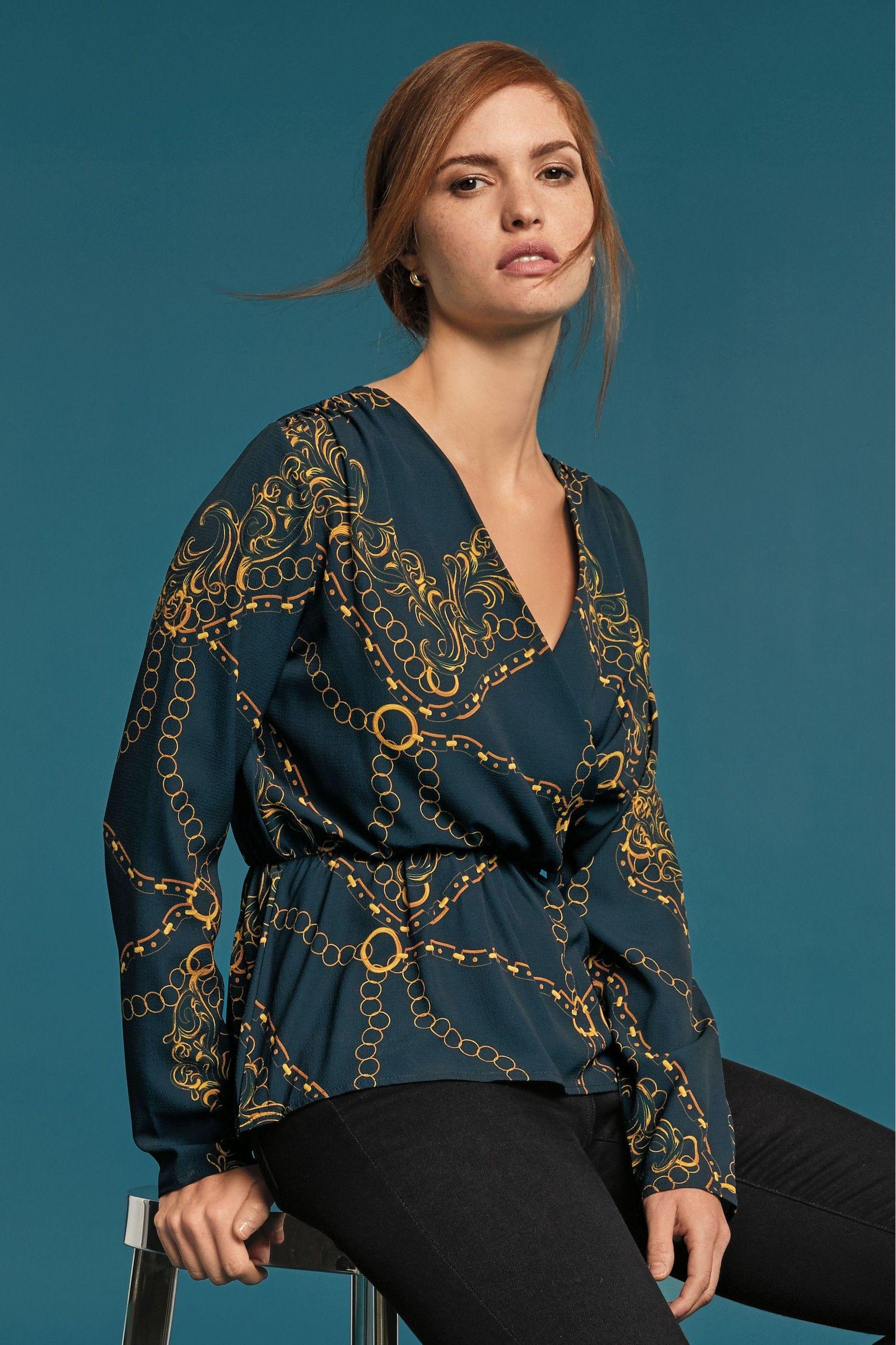 db9e94a03411 Womens Next Navy Chain Print Wrap Top - Blue | Products | Black ...