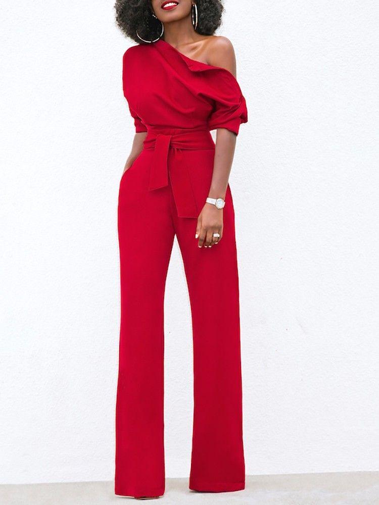5f2fa9226cc5e Shop Jumpsuits Solid One Shoulder Tied Waist Culotte Jumpsuit ...