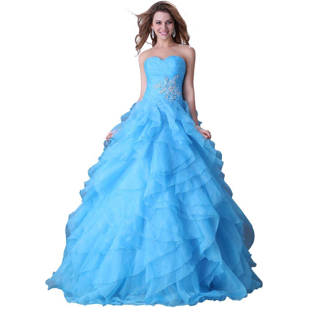 Barato Frete grátis cativante Strapless azul Quinceanera vestido ...