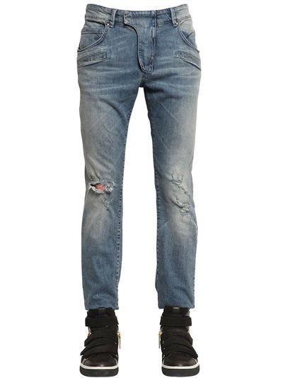 PIERRE BALMAIN 17CM BIKER DESTROYED STRETCH DENIM JEANS, LIGHT BLUE. #pierrebalmain #cloth #jeans