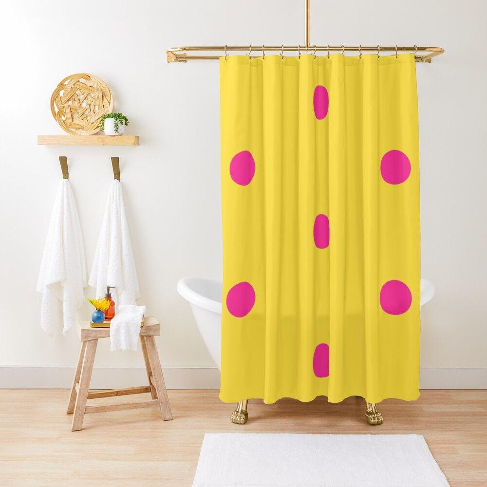 4am Polka Dots Pink On Yellow Shower Curtain By Ana Moreira
