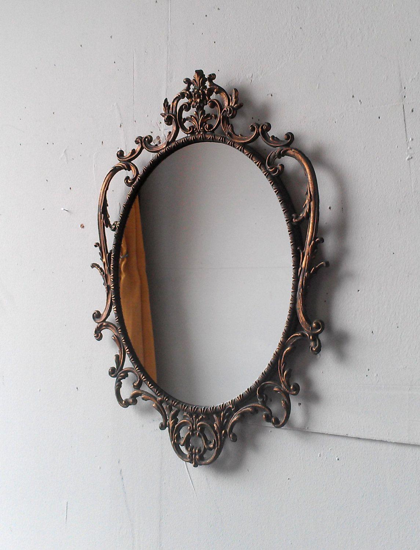Ornate Oval Mirror in Vintage Italian Brass Frame. $95.00 ...