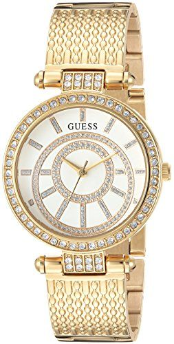GUESS Women's U1008L1 Stainless Steel Gold-Tone Dress Watch with Crystal Accents