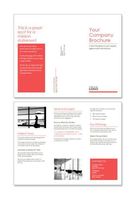 Free Word Brochure Template - Red Design Set