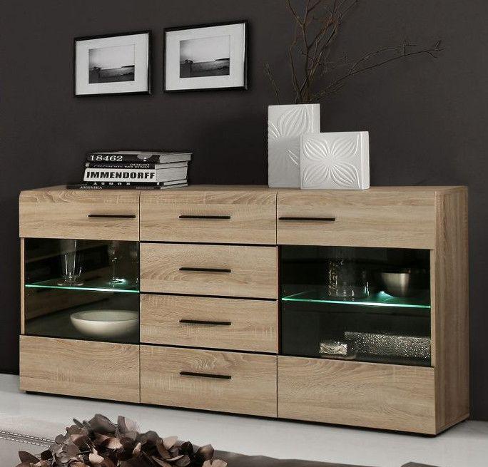 Sideboard Sonoma Eiche\/ Wenge Mit Beleuchtung Woody 77-00700 - wohnzimmer eiche modern