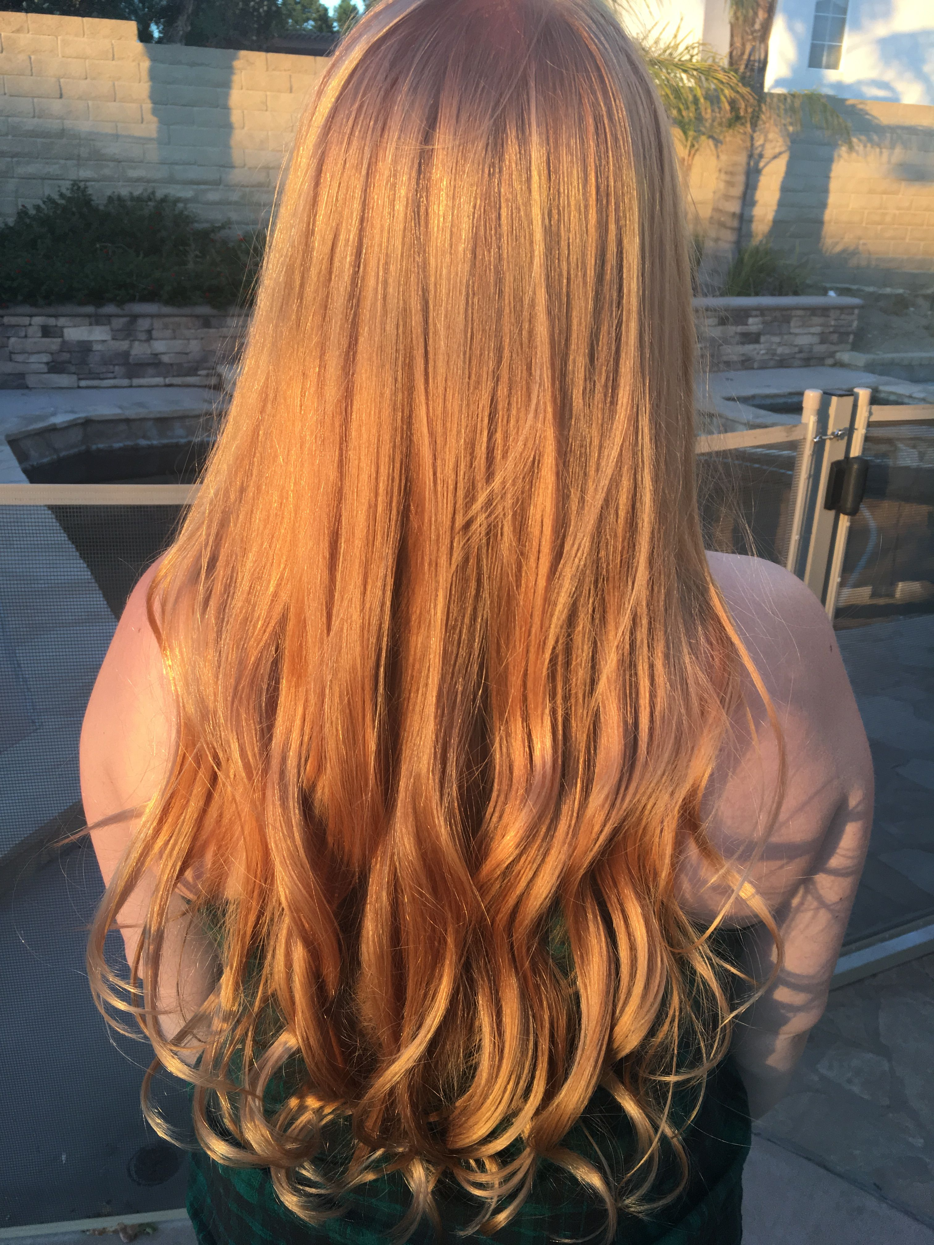 Copper Blonde In Sunset Light Strawberry Blonde Balayage Hair