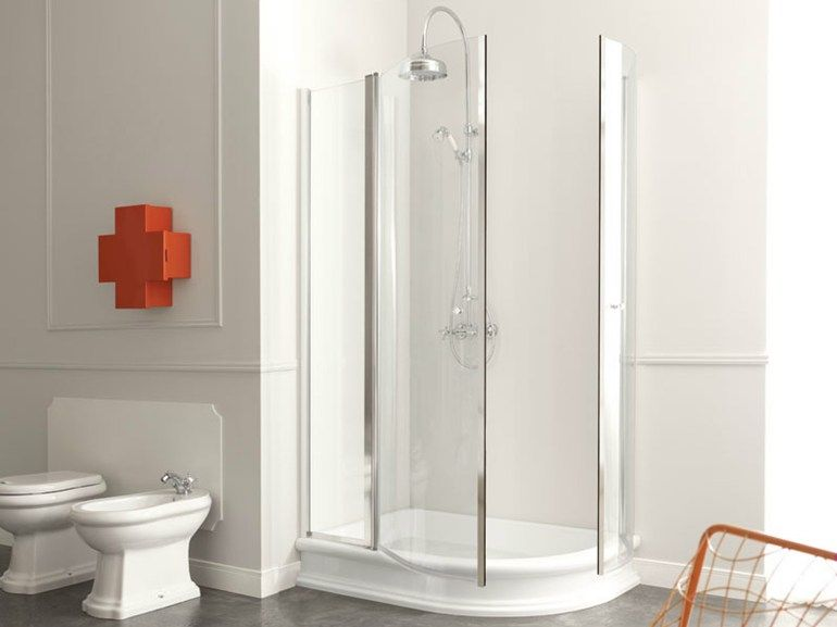 RETRÒ Piatto doccia angolare by Kerasan design Alfredo Anzellini, Massimiliano Cicconi