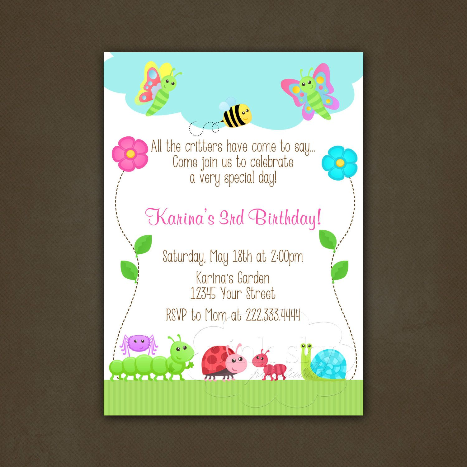 garden party birthday invitation critters by pinkskyprintables