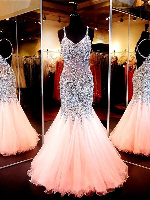 2016 prom dresses,Pink Trumpet/Mermaid Straps  Rhinestone  2016 Prom Dresses Evening Dresses 1274 #promdresses