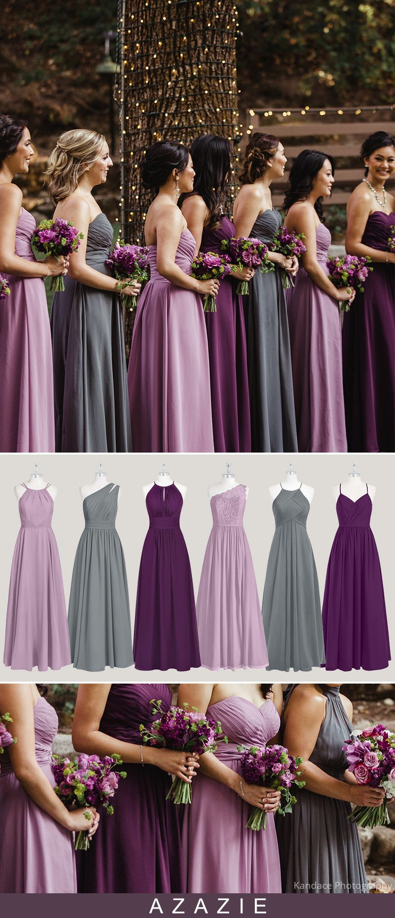 Purple And Grey Mismatched Bridesmaid Dresses Wedding Bridesmaid Dresses Wedding Bridesmaids Purple Bridesmaid Dresses
