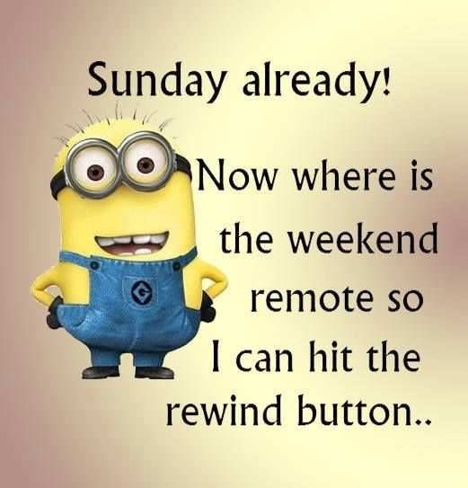 Sunday Already! Now Where Is The Weekend Remote So I Can Hit The Rewind  Button. Minions QuotesFunniest ...